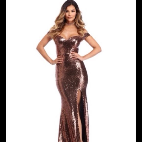 Windsor Dresses | Cooper Off Shoulder Full Sequin Formal Dress ...